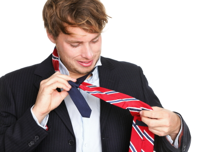 ties - man can not tie his tie